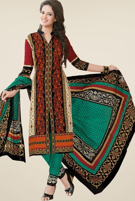 Salwar Studio Brown & Teal Dress Material