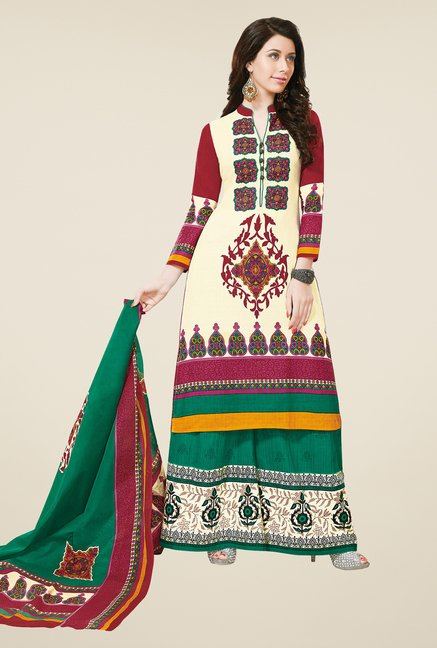 Salwar Studio Cream & Green Dress Material