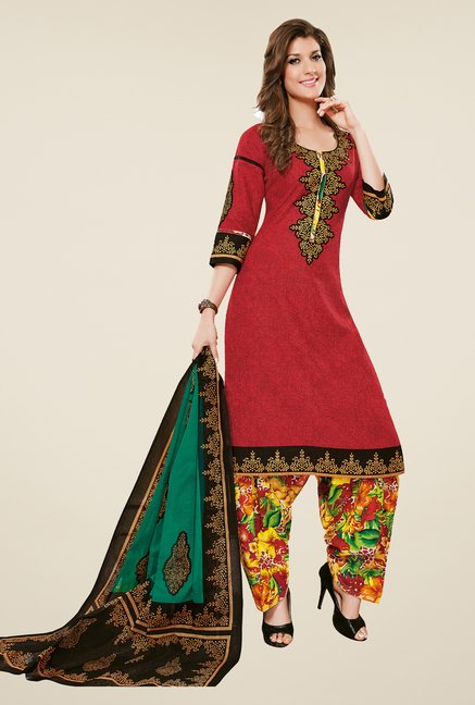 Salwar Studio Red & Multicolor Dress Material