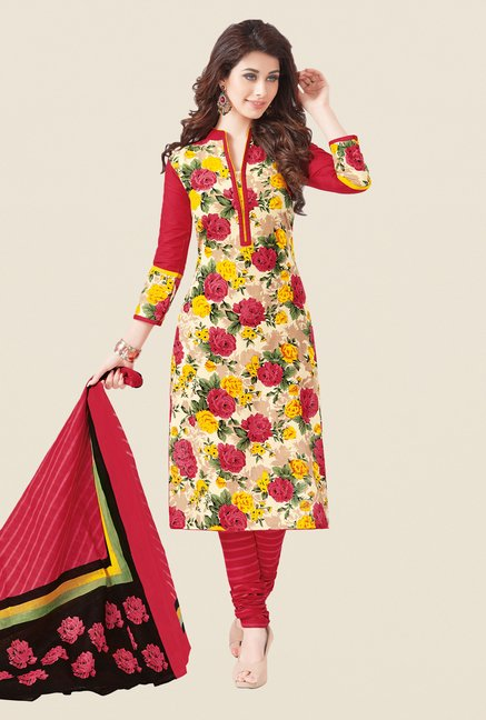 Salwar Studio Red & Yellow Floral Printed Dress Material
