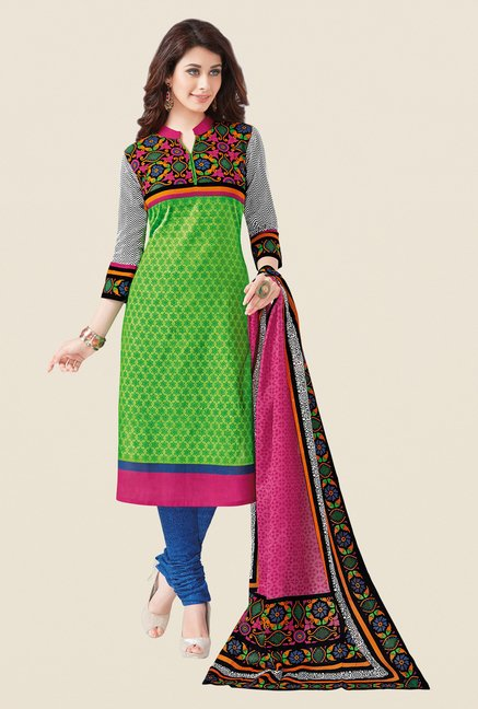 Salwar Studio Green & Blue Regular Wash Dress Material