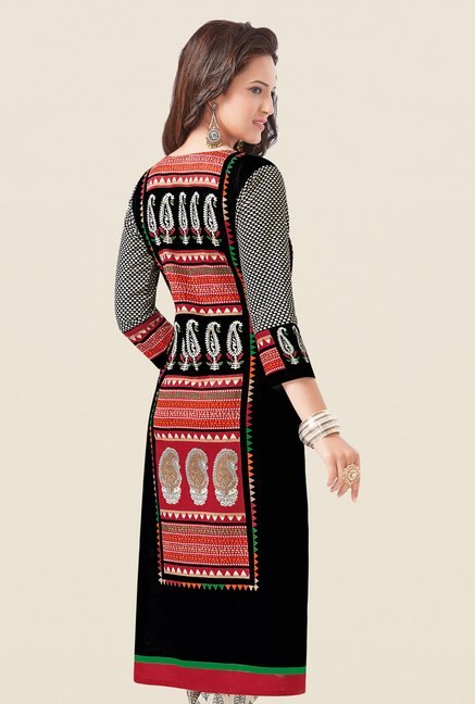 Salwar Studio Black & Red Cotton Dress Material
