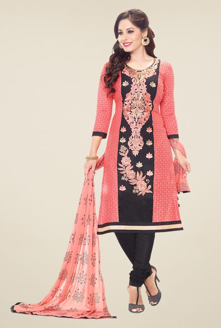Salwar Studio Peach & Black Embroidered Dress Material