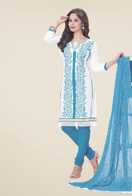 Salwar Studio White & Blue Embroidered Dress Material
