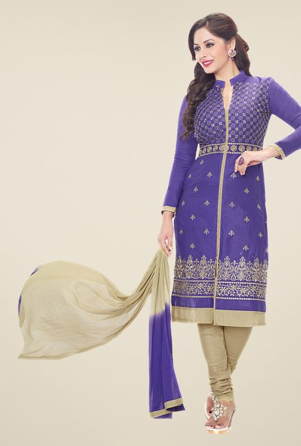 Salwar Studio Purple & Grey Embroidered Dress Material