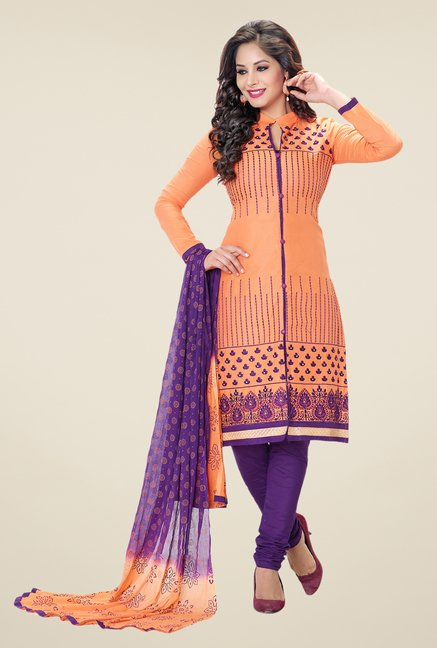Salwar Studio Orange & Purple Embroidered Dress Material