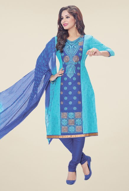 Salwar Studio Sky Blue & Blue Embroidered Dress Material