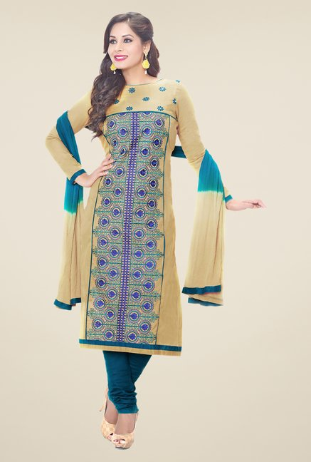 Salwar Studio Beige & Turquoise Embroidered Dress Material