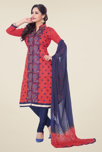 Salwar Studio Red & Dark Blue Embroidered Dress Material