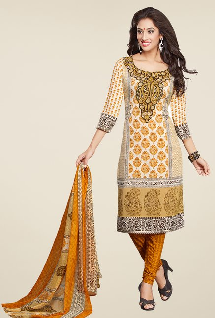 Salwar Studio Mustard & White Printed Dress Material