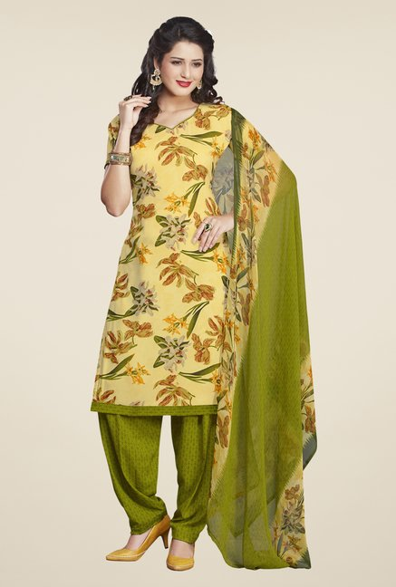 Salwar Studio Lemon & Olive Printed Dress Material