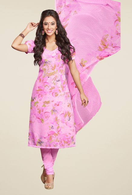 Salwar Studio Pastel Pink Printed Dress Material
