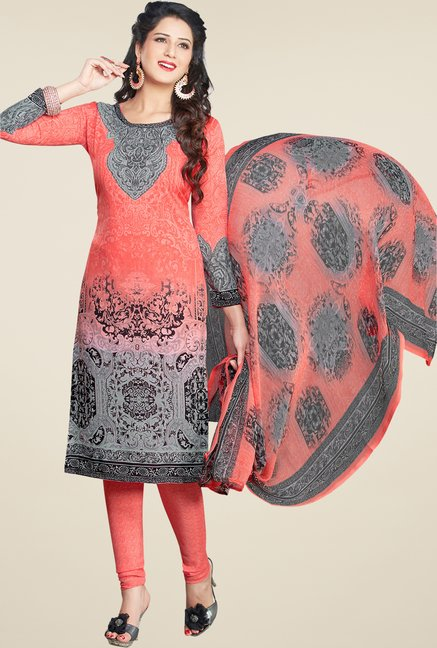 Salwar Studio Peach & Grey Printed Dress Material