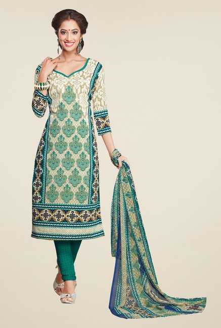 Salwar Studio Off White & Turquoise Printed Dress Material