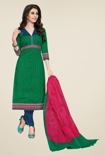 Salwar Studio Green & Blue Dress Material