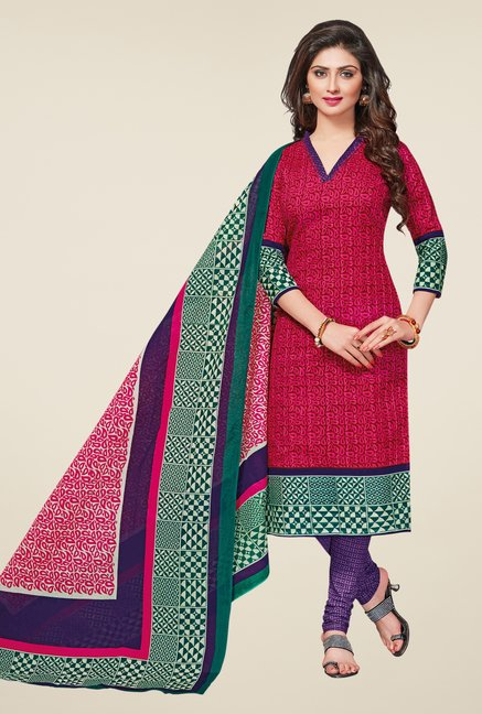 Salwar Studio Pink & Violet Printed Dress Material