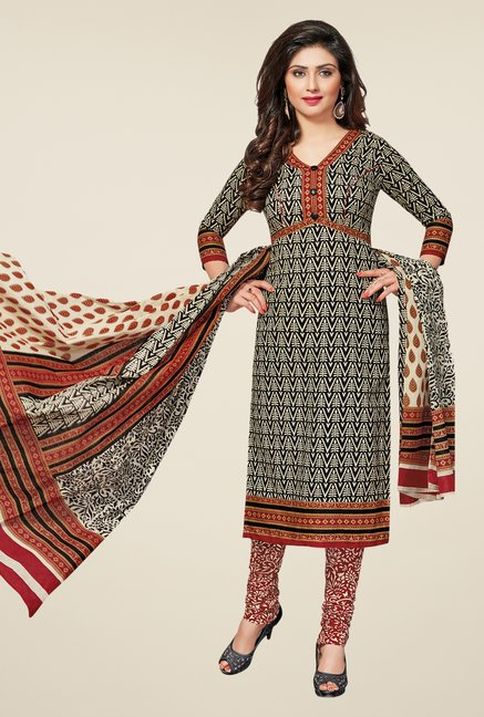 Salwar Studio Black & Brown Printed Dress Material