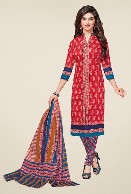 Salwar Studio Coral & Blue Printed Dress Material