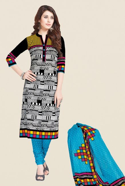 Salwar Studio Black & Blue Printed Dress Material