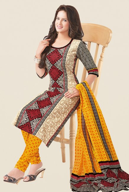 Salwar Studio Beige & Yellow Printed Dress Material