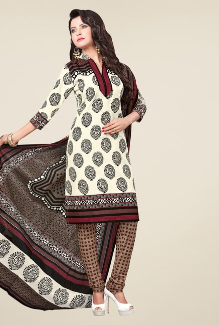 Salwar Studio Cream & Brown Printed Dress Material