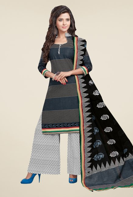 Salwar Studio Grey & White Printed Dress Material