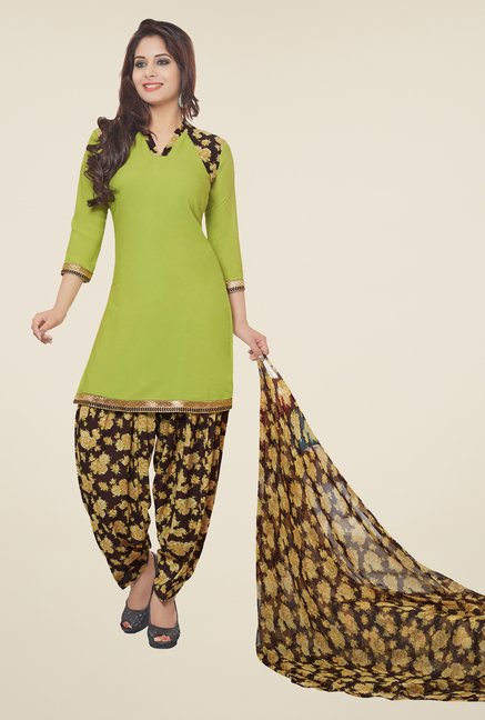 Salwar Studio Pastel Green & Brown Patiyala Dress Material