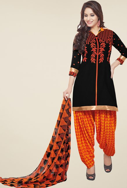 Salwar Studio Black & Orange Printed Patiyala Dress Material