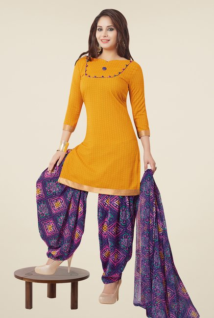 Salwar Studio Mustard & Purple Patiyala Dress Material