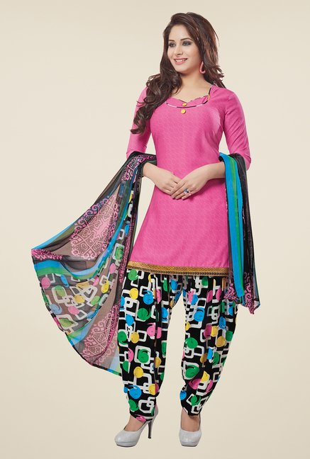Salwar Studio Pink & Black Printed Patiyala Dress Material