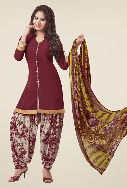 Salwar Studio Maroon & Grey Printed Patiyala Dress Material