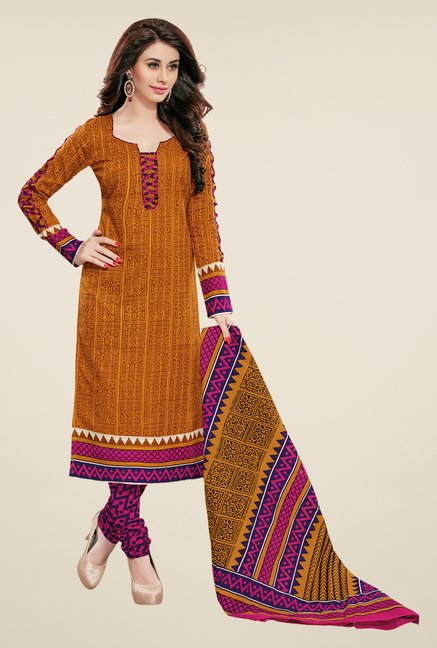 Salwar Studio Mustard & Pink Printed Dress Material