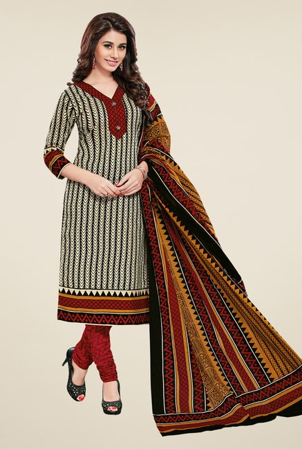 Salwar Studio Beige & Maroon Regular Wash Dress Material