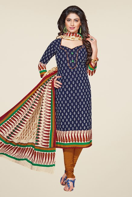 Salwar Studio Navy & Mustard Printed Dress Material