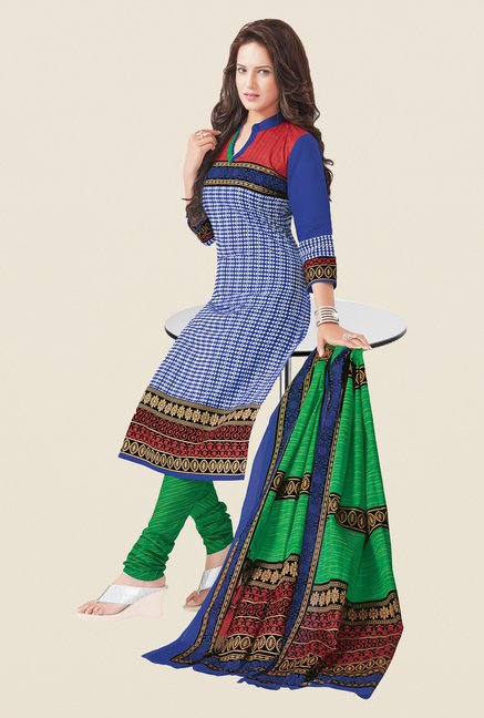 Salwar Studio Blue & Green Dress Material