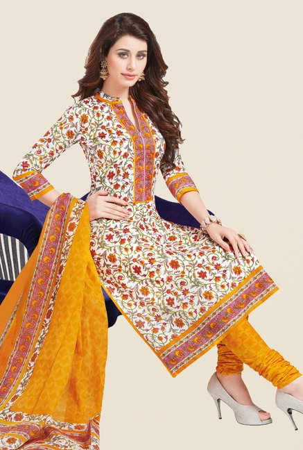 Salwar Studio White & Yellow Printed Dress Material