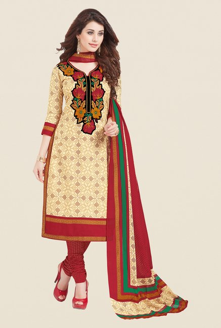 Salwar Studio Fawn & Red Printed Dress Material