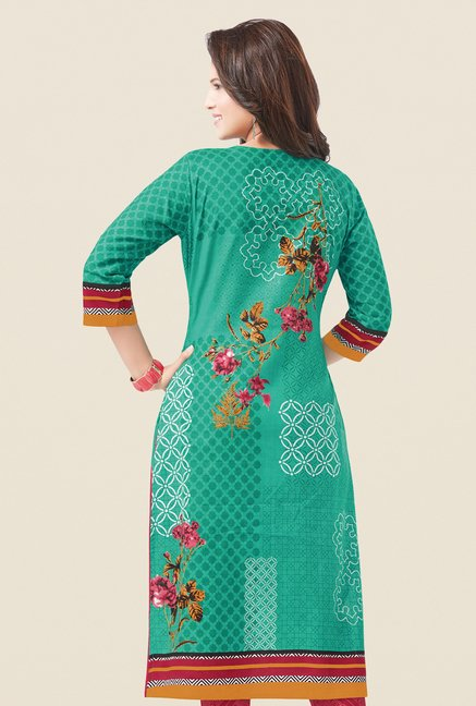 Salwar Studio Sea Green & Coral Printed Dress Material