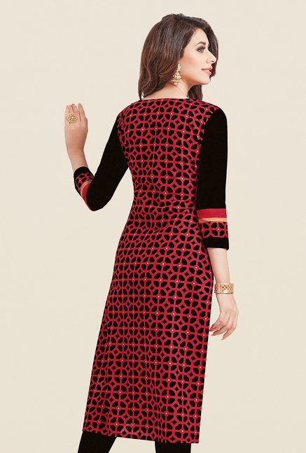Salwar Studio Red & Black Printed Cotton Dress Material