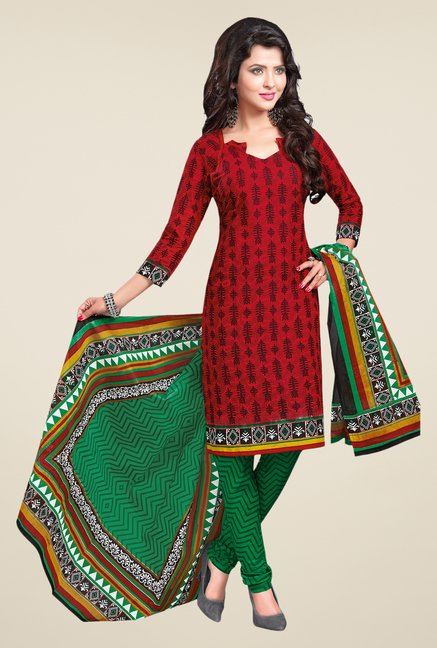 Salwar Studio Red & Green Cotton Free Size Dress Material