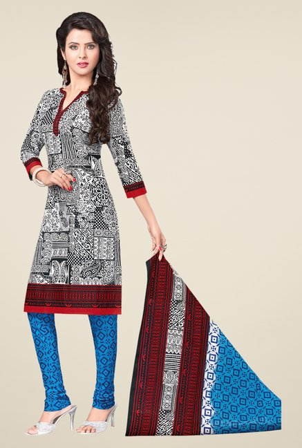 Salwar Studio White & Blue Printed Dress Material