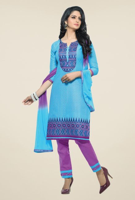 Salwar Studio Sky Blue & Violet Embroidered Dress Material