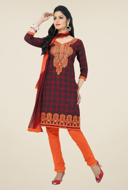 Salwar Studio Maroon & Orange Embroidered Dress Material