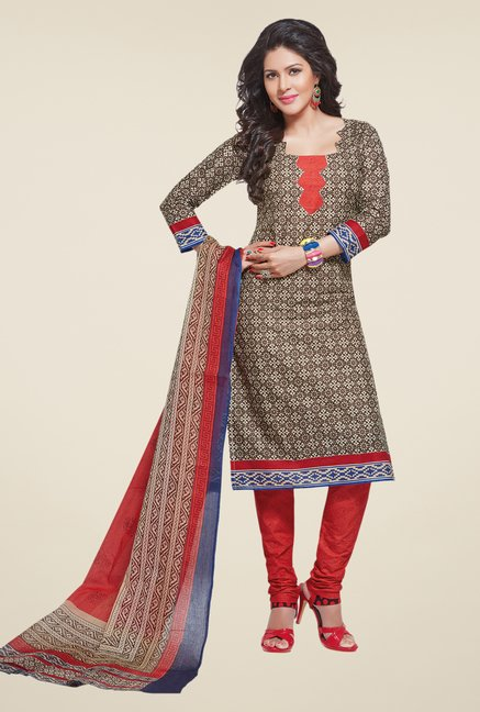 Salwar Studio Coffee & Coral Printed Dress Material