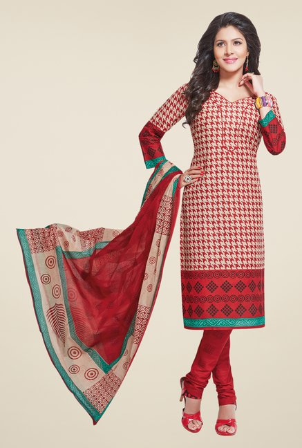 Salwar Studio Red & Beige Regular Wash Dress Material