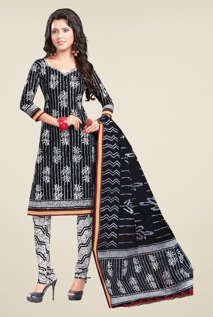 Salwar Studio Black & White Printed Cotton Dress Material