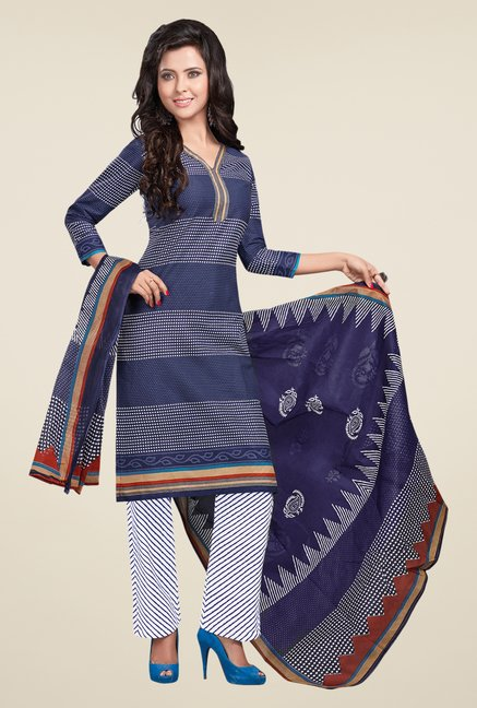 Salwar Studio Blue & White Striped Dress Material