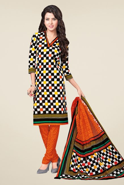 Salwar Studio Multicolor & Orange Printed Dress Material