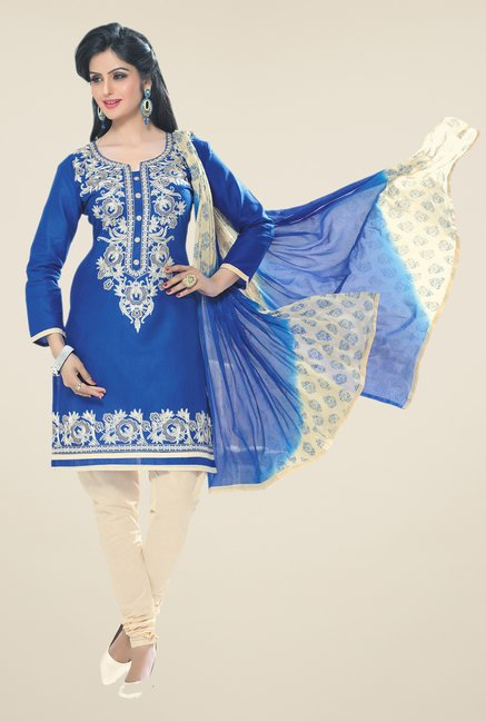 Salwar Studio Blue & Fawn Embroidered Dress Material