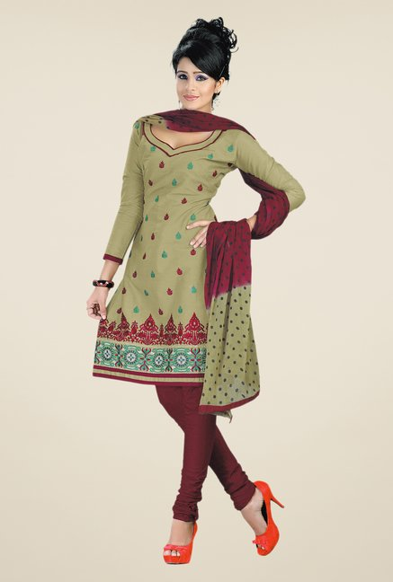 Salwar Studio Grey & Maroon Embroidered Dress Material